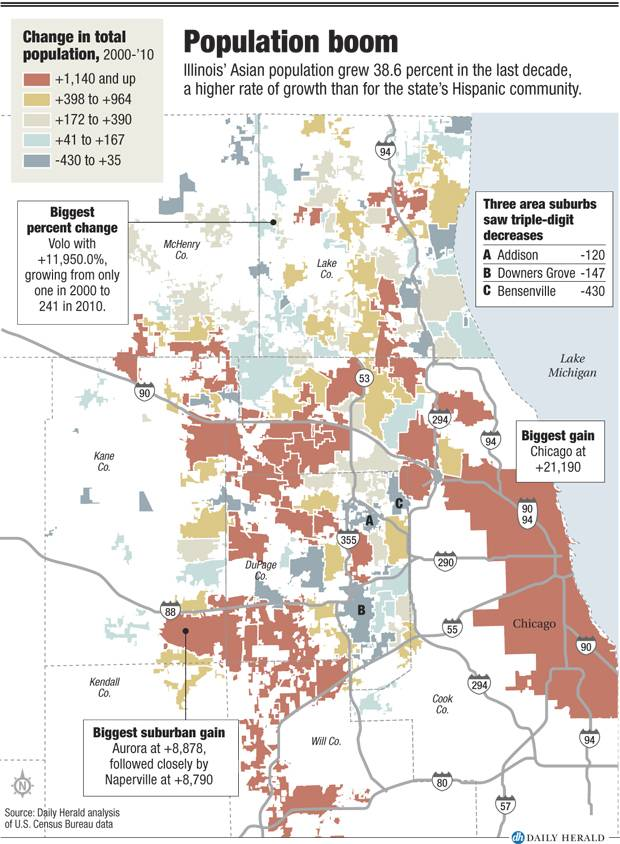 Suburban Chicago Map.Asian Population Booming In Suburbs