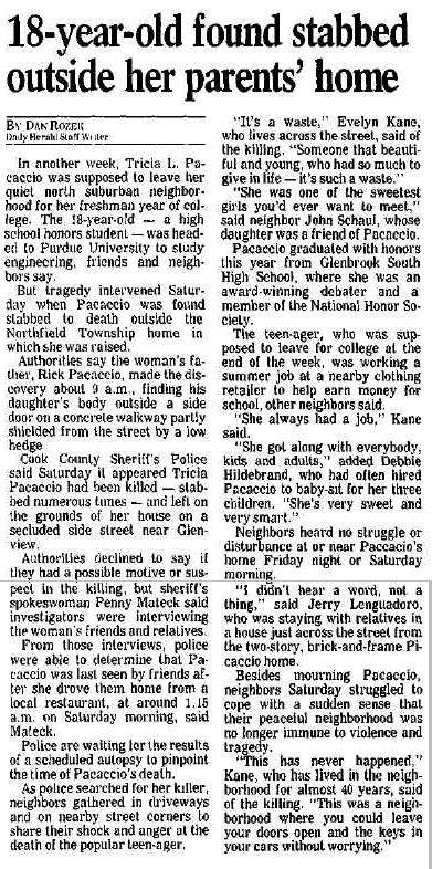 August, 1993 Daily Herald article on slaying