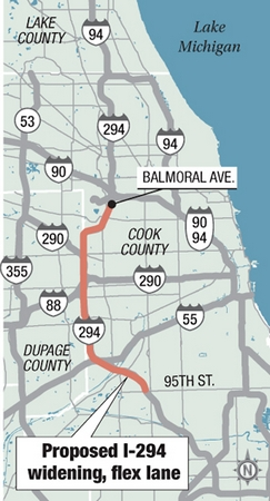 Proposed I-294 wideing