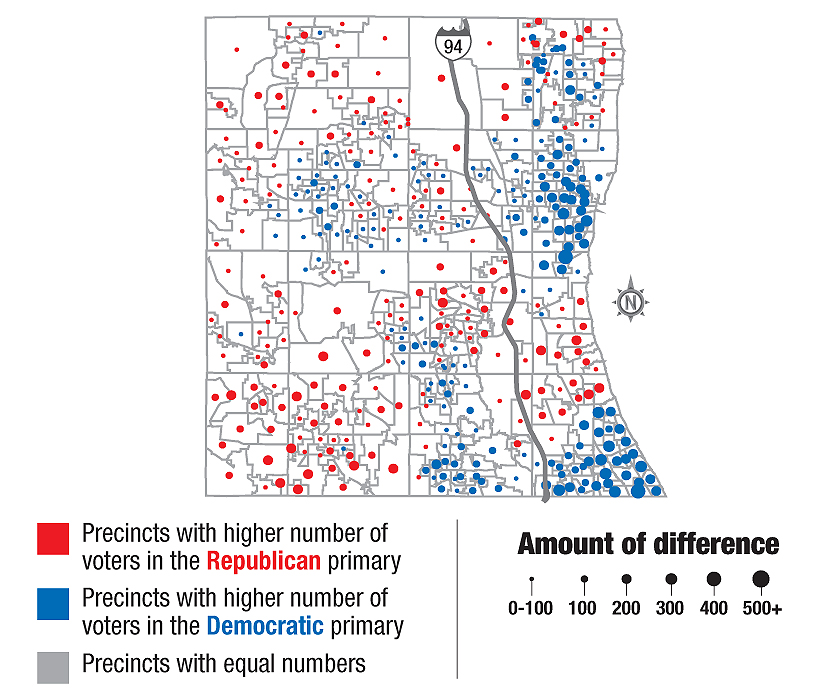 Most Of Kane County S Geography Is Covered By Red Dots On The Map Where Republicans Were The Majority Of Voters Last Month