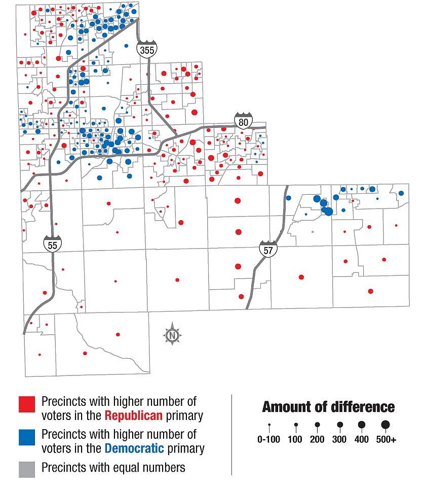 Illinoisans Won T Be Surprised To See The Democratic Stronghold Of Chicago Lit Up Heavily With Democratic Blue But There S More Of A Mix In The Northwest