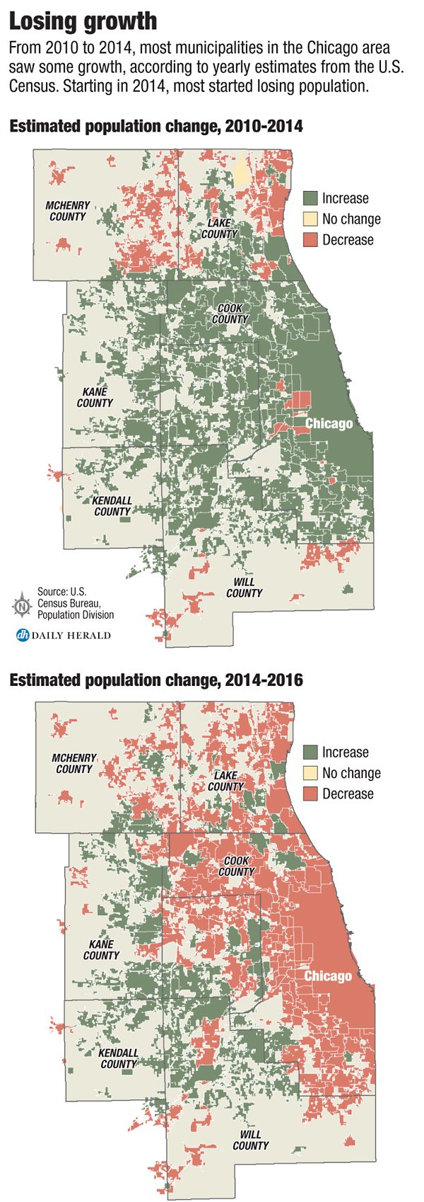 Population Decline Now Reaching Into Suburbs - Chicago illinois map of suburbs