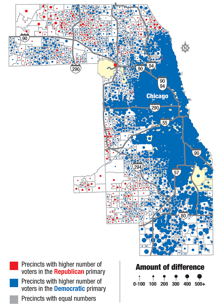 See How Your Neighbors Voted In Presidential Primary - Chicago map by county