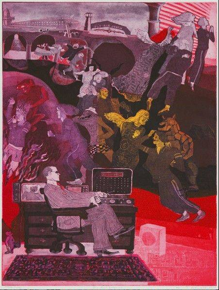 "Warrington Colescott's 1979 work ""The Last Judgment"" in intaglio is part of the NIU Art Museum Permanent Collection."