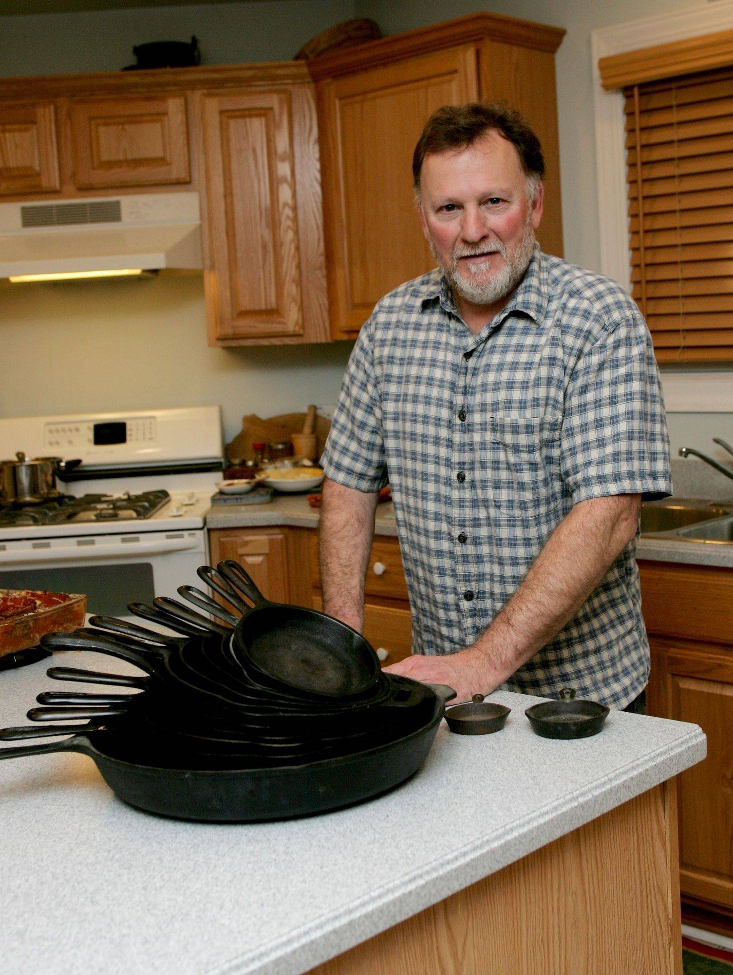 When he cooks indoors, Marty O'Brien favors the heavy-duty, heat-holding ability of cast iron pans.