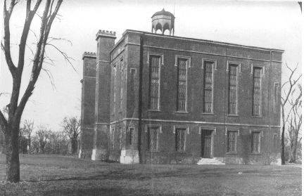1908 photo of Old Main building on Knox College campus in Galesburg.