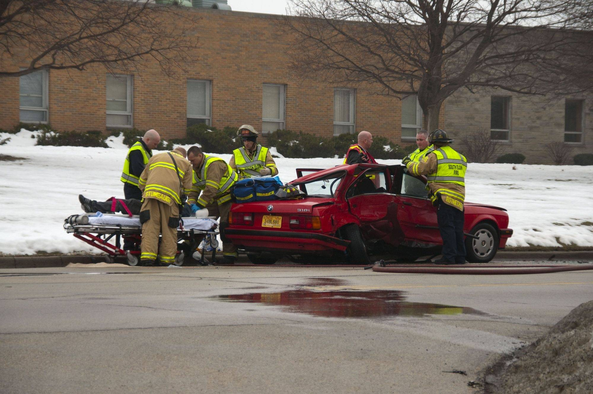 Three people were taken to the hospital after a crash at Route 31 and Josephine Avenue in South Elgin around 2 p.m. on Saturday.