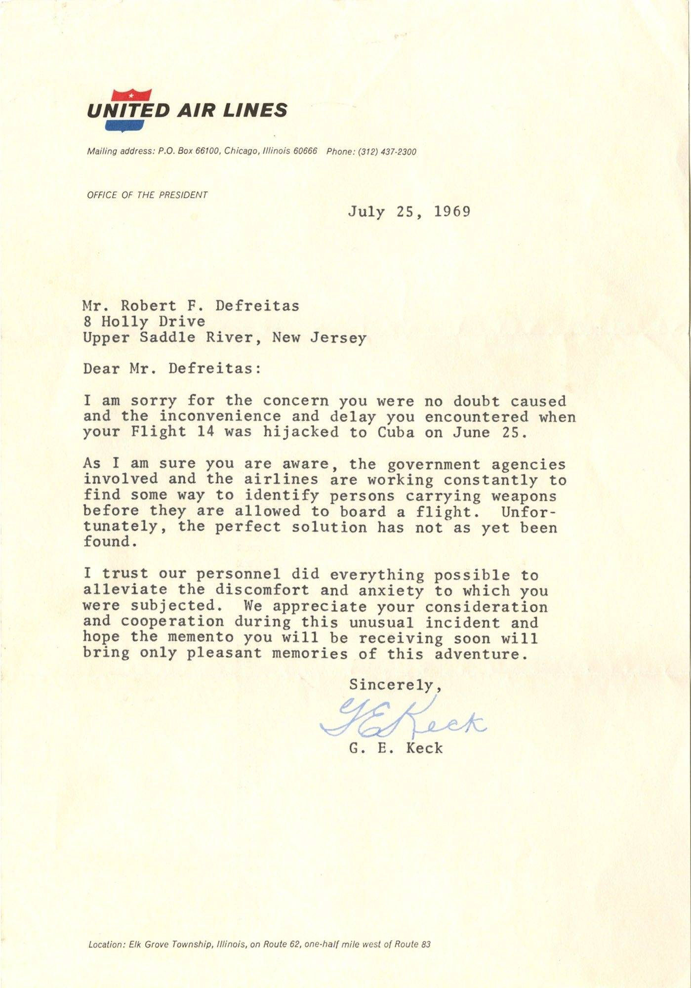 Letter from United Airlines to Bob DeFreitas after his 1969 hijacking ordeal.