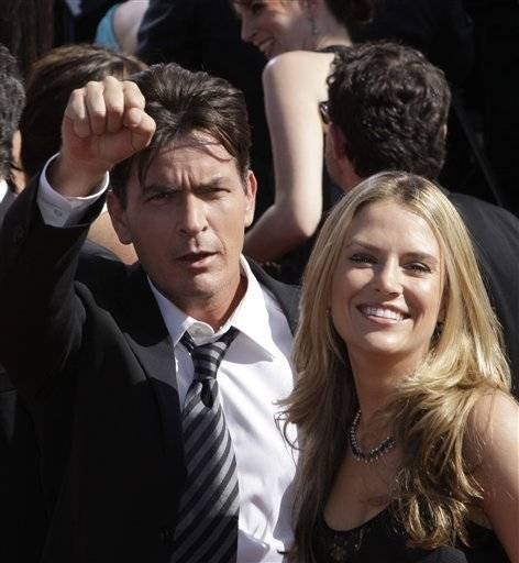 Actor Charlie Sheen with his wife Brooke Mueller