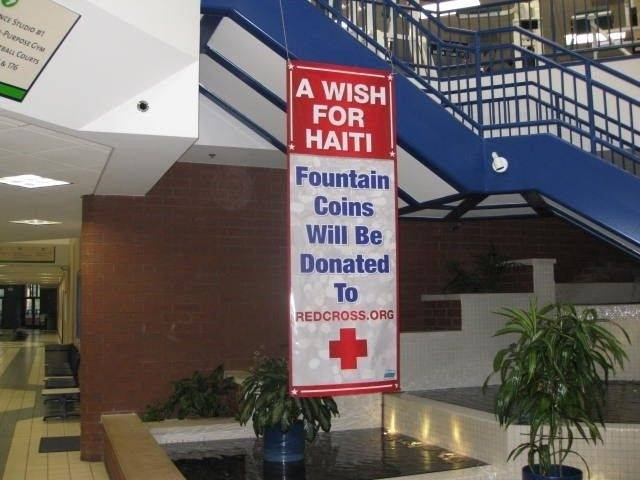 Visitors to the Elk Grove Pavillion can toss a coin into the wishing fountaion to benefit Haiti through the American Red Cross.