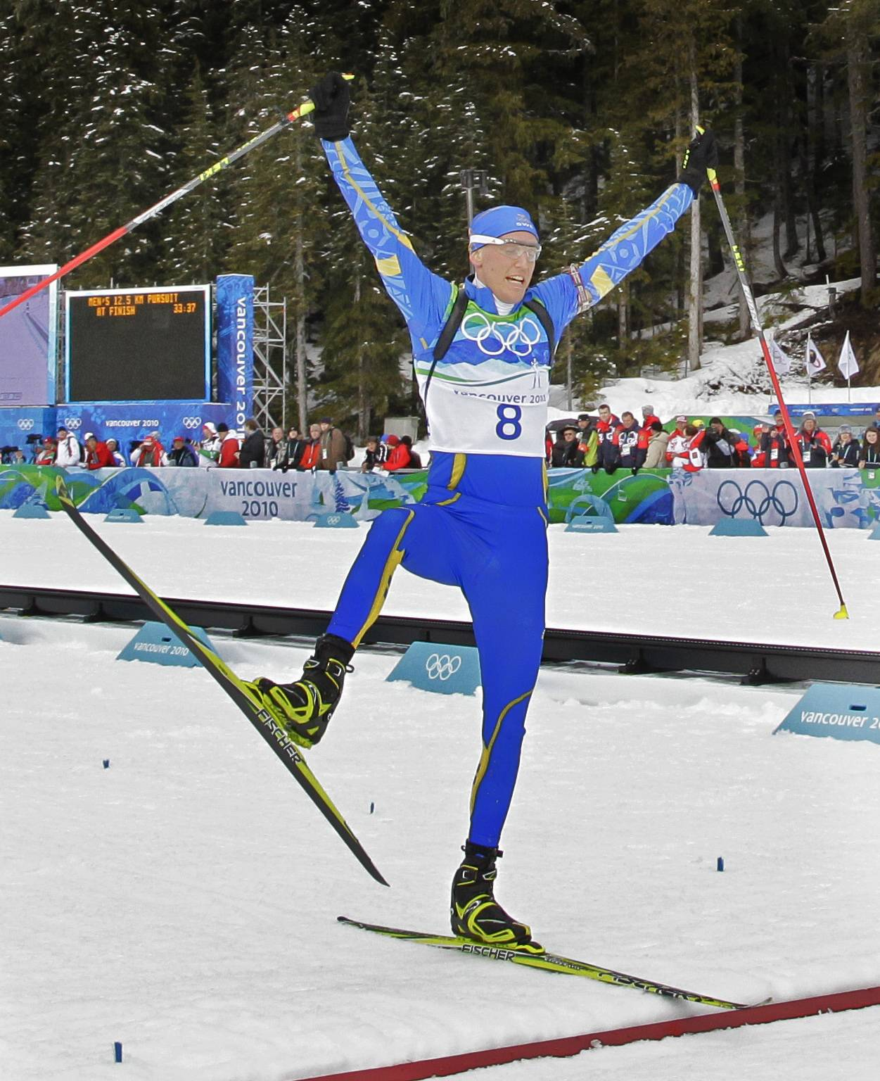 Bjorn Ferry of Sweden won the men's 12.5-kilometer biathlon pursuit for his first Olympic medal.