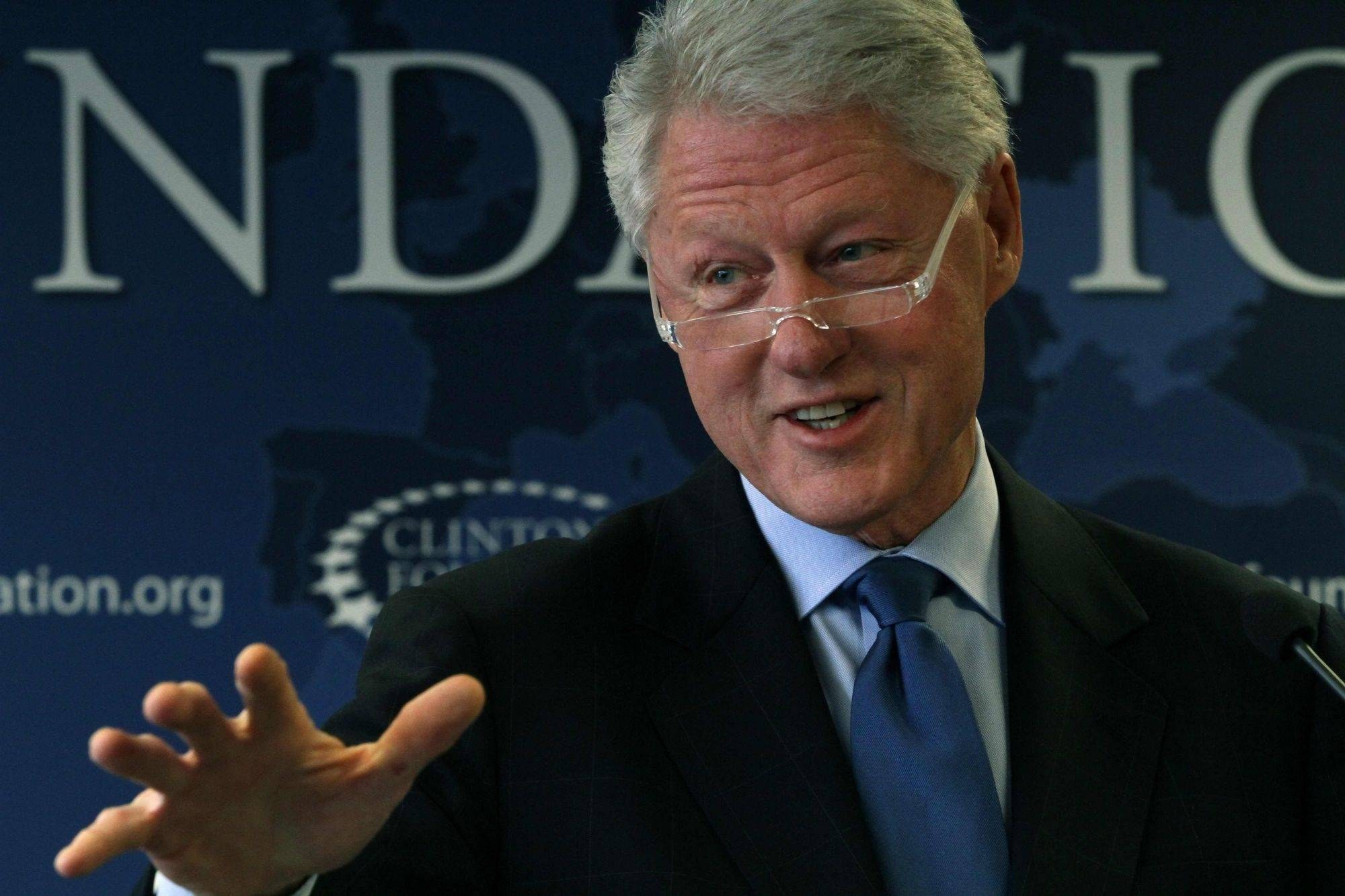 Former President Bill Clinton was back on the job last week, speaking during a news conference at the offices of the Clinton Foundation in New York.