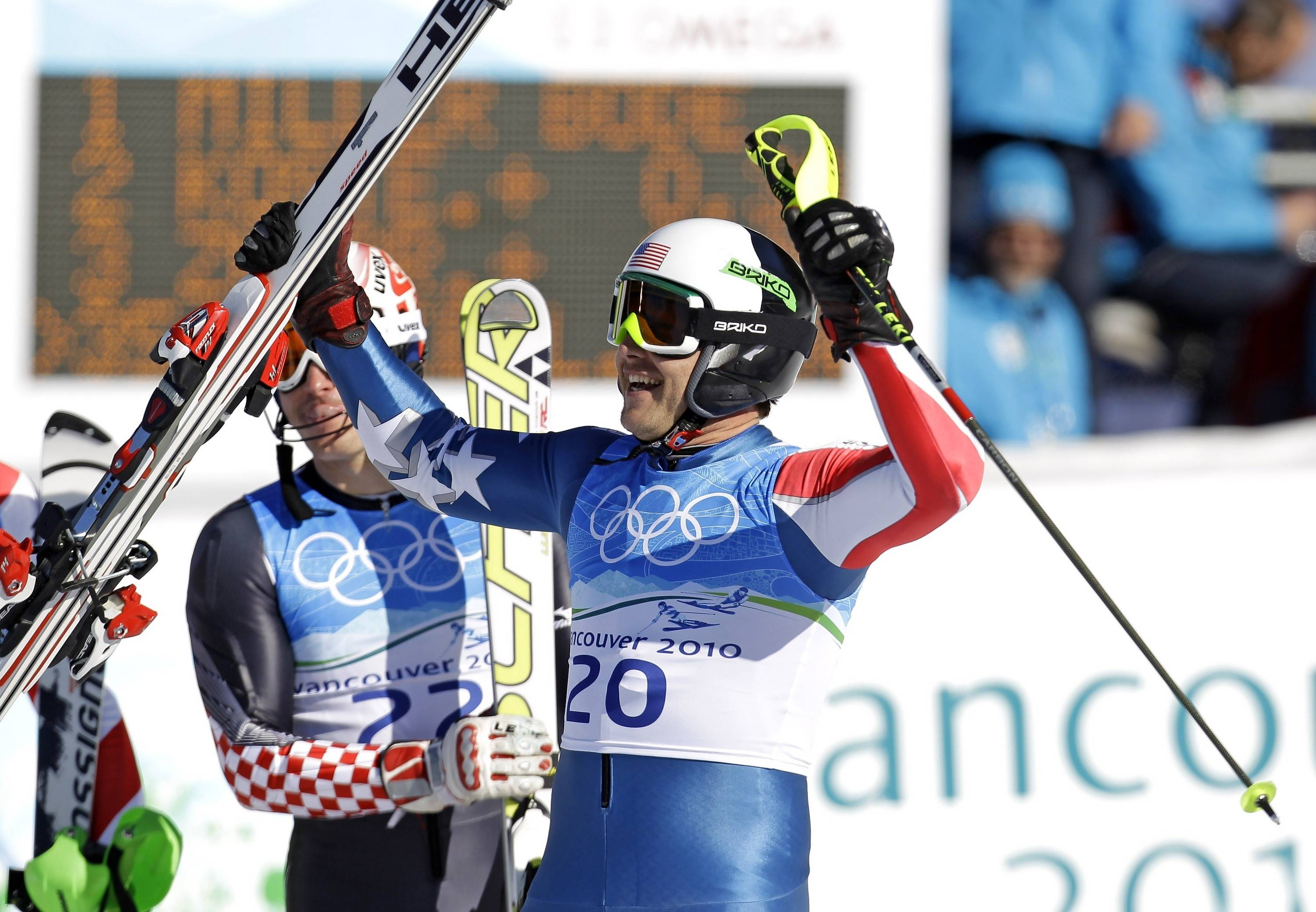 Bode Miller of the United States reacts after winning the gold medal in the Men's super-combined.