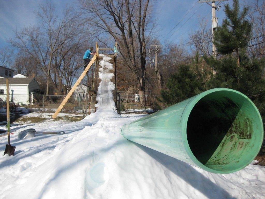 Backyard Snowboard Ramp palatine snowboarder creates his own backyard park