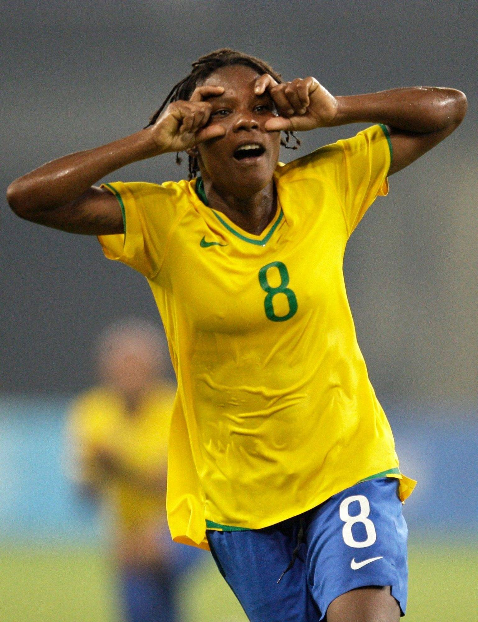 Brazil's Formiga celebrates after scoring a goal against Germany at the 2008 Beijing Olympics in Shanghai.