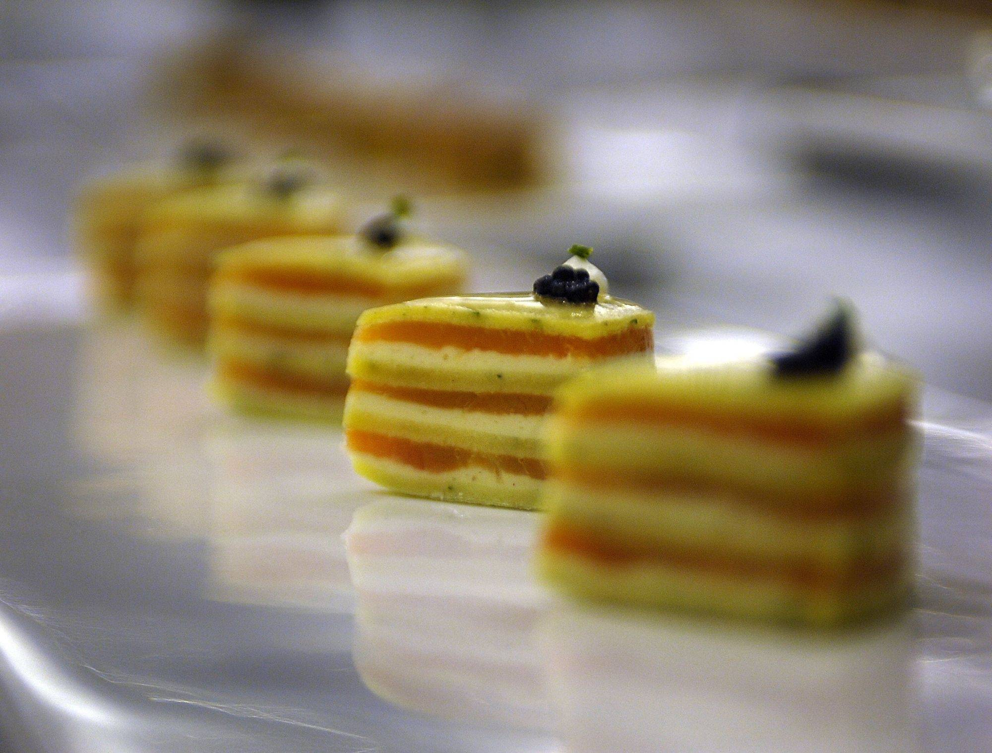 Caviar-topped terrine of salmon and crepes was one of the dishes created by Unilever corporate chef Rudy Smith as he tried out for the team that will compete in the culinary Olympics in 2012.