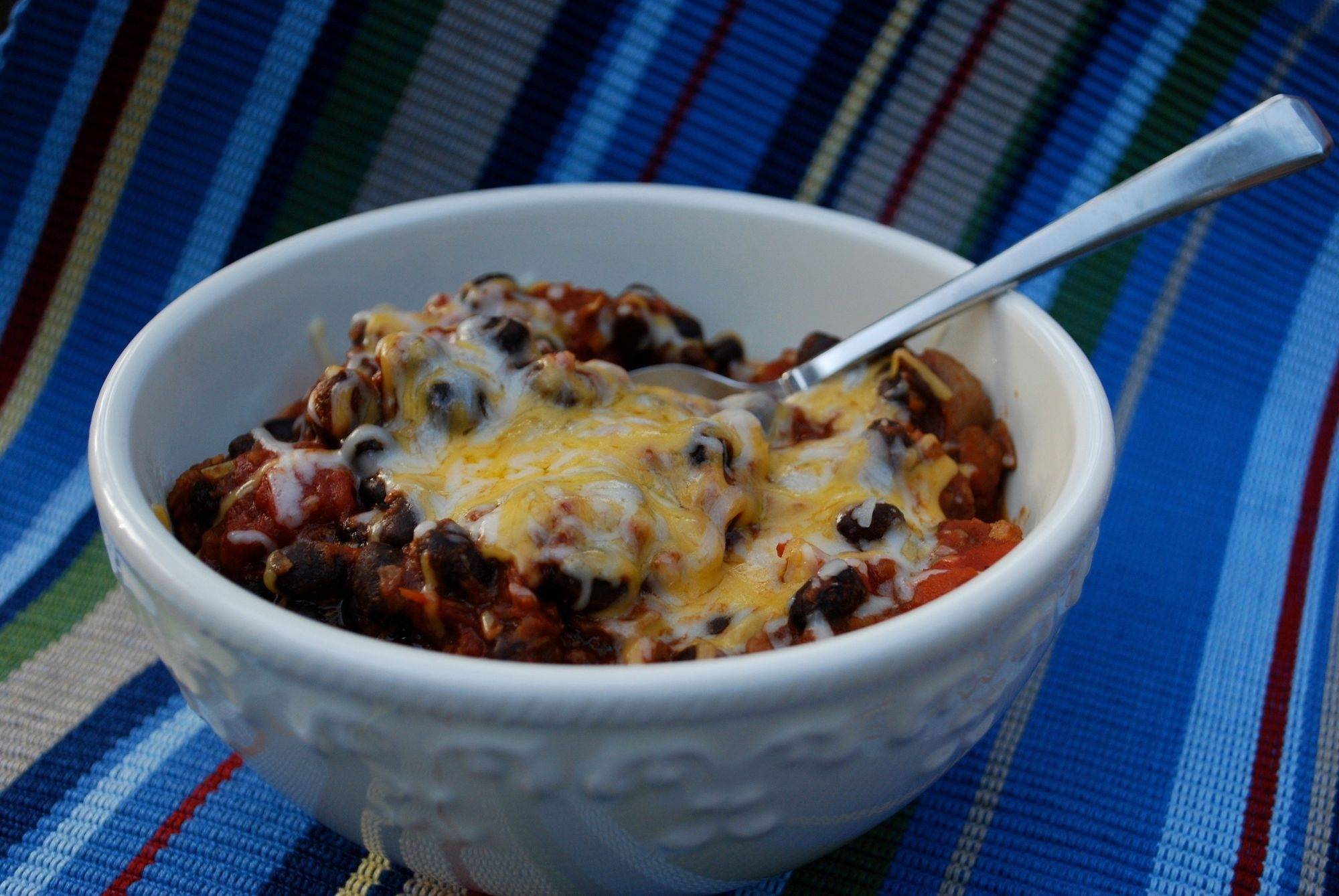 You won't miss the meat in this hearty bowl of chili made with soy crumbles.