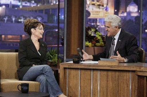 "In this image released by NBC, former Republican vice presidential nominee Sarah Palin is shown during an interview with host Jay Leno on ""The Tonight Show with Jay Leno,"" Tuesday."