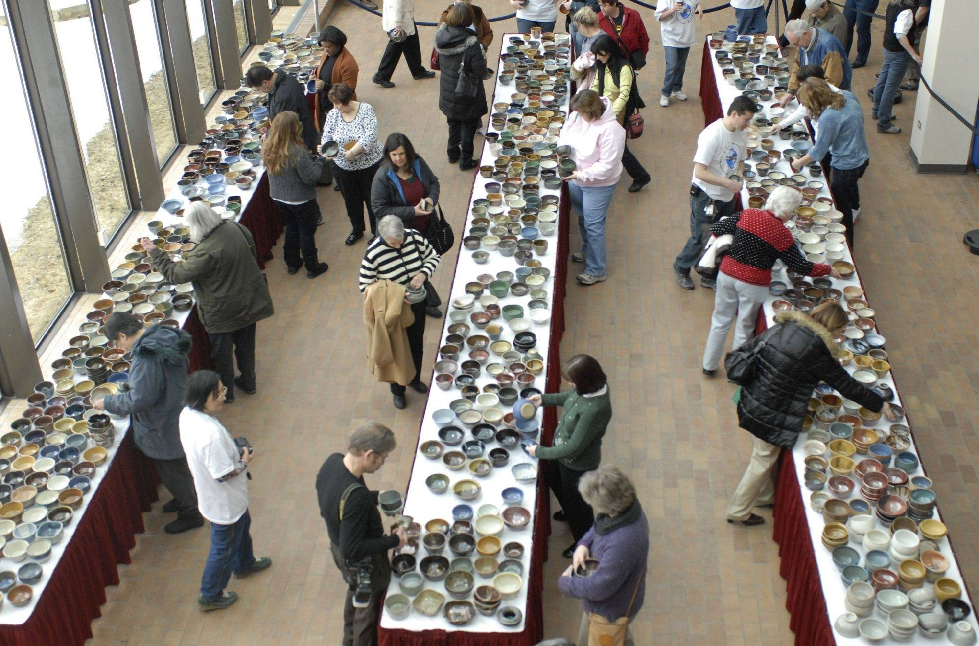 More than 1,000 bowls made by College of Lake County ceramics students were on sale at the second annual Empty Bowls event at the Grayslake campus Tuesday.