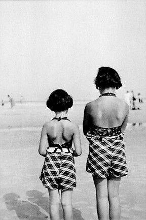 Anne Frank, left, and her older sister, Margot, at the beach.