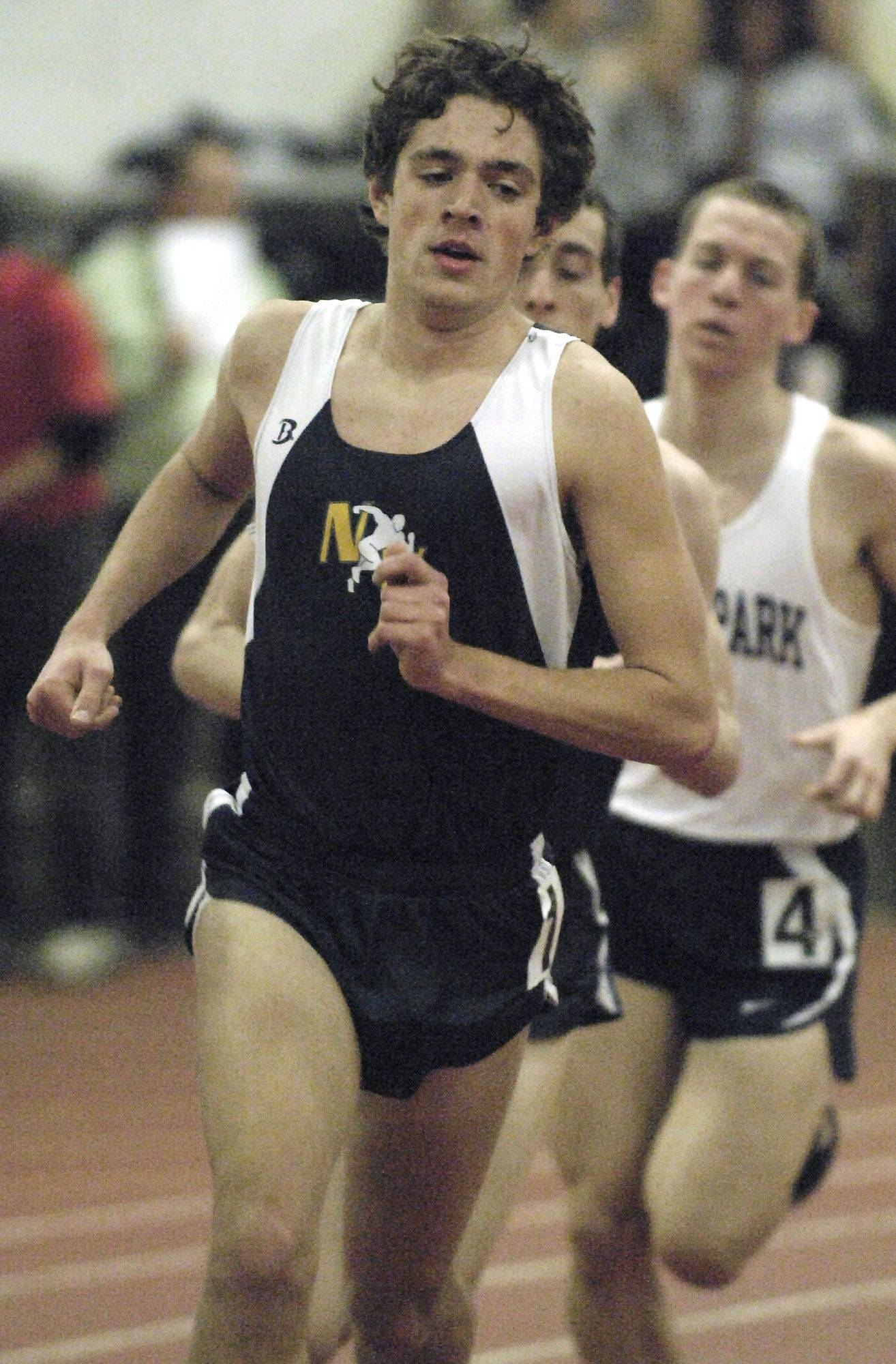 Neuqua Valley's Carlton Folster in the 3200 run at the Upstate Eight Conference on Wednesday, March 17.