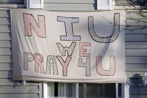 A sign in front of an apartment along Normal Street in DeKalb, the day after a deadly Feb. 14, 2008, shooting on the campus of Northern Illinois University.