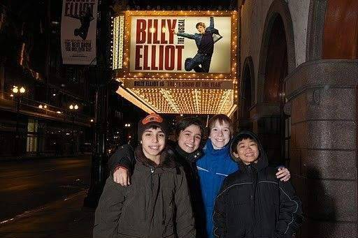 "J.P Viernes, left, Cesar Corrales, Giuseppe Bausilio and Tommy Batchelor will alternate in the title role of ""Billy Elliot,"" in previews now at the Ford Center for the Performing Arts, Oriental Theatre."
