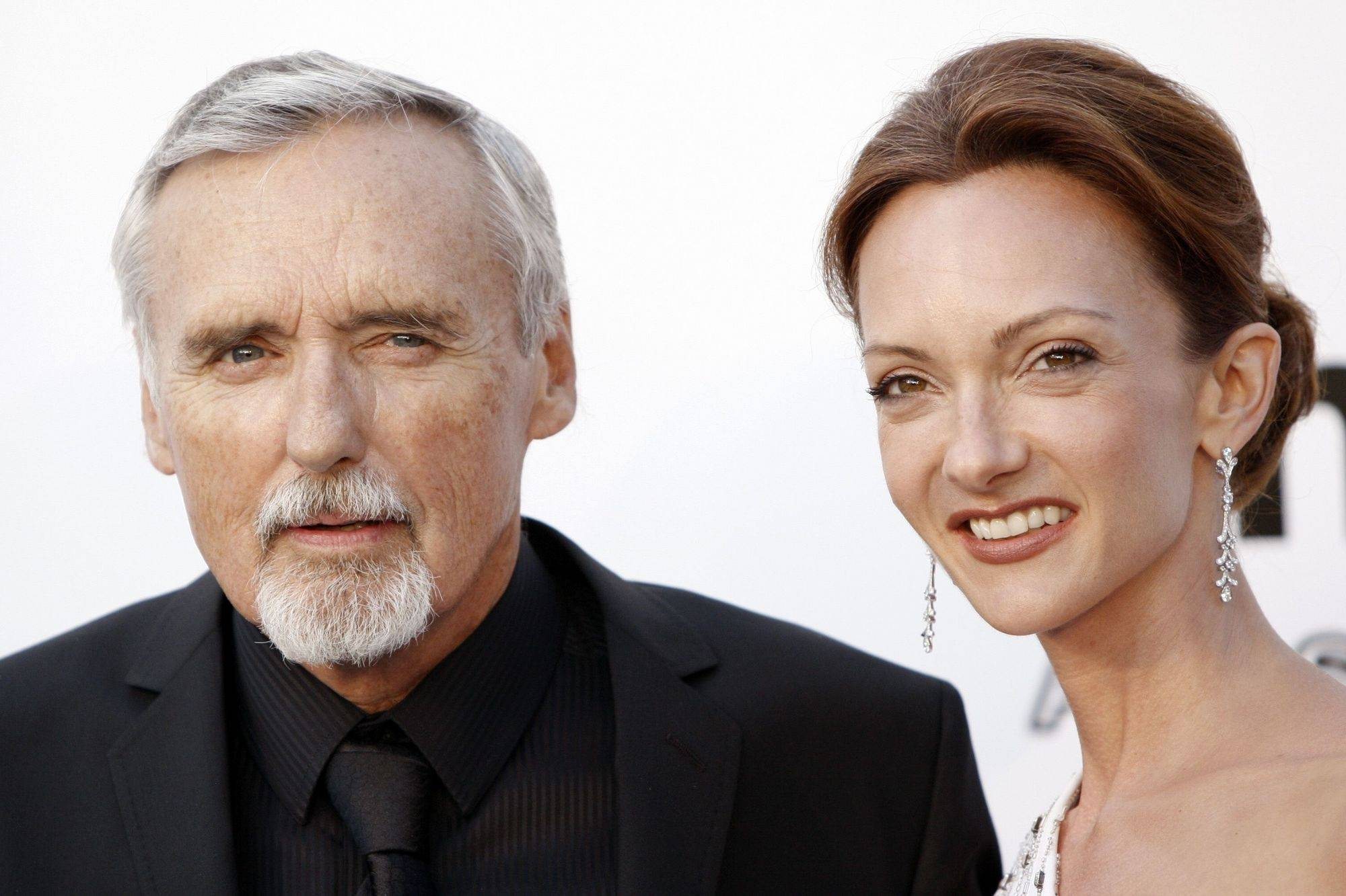 In this May 22, 2008 file photo, actor Dennis Hopper, left, and his wife Victoria Duffy Hopper arrive at the amfAR's annual Cinema Against AIDS 2008 gala at Le Moulin de Mougins, southern France.