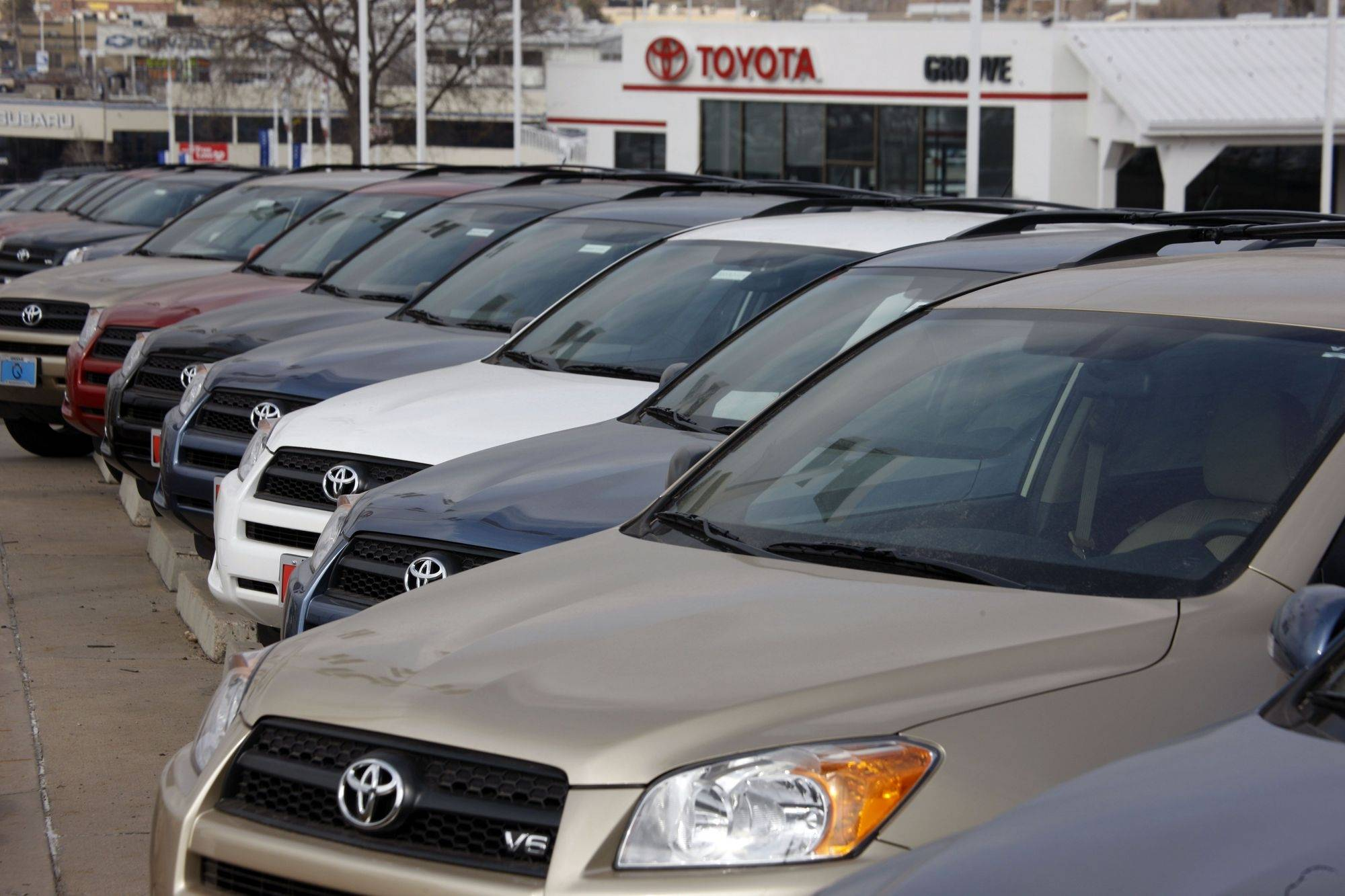 Toyota 2010 RAV4 sports utility vehicles sit in a long row at a Toyota dealership. Toyota said Thursday that U.S. sales in March surged 41 percent based on unprecedented incentives.