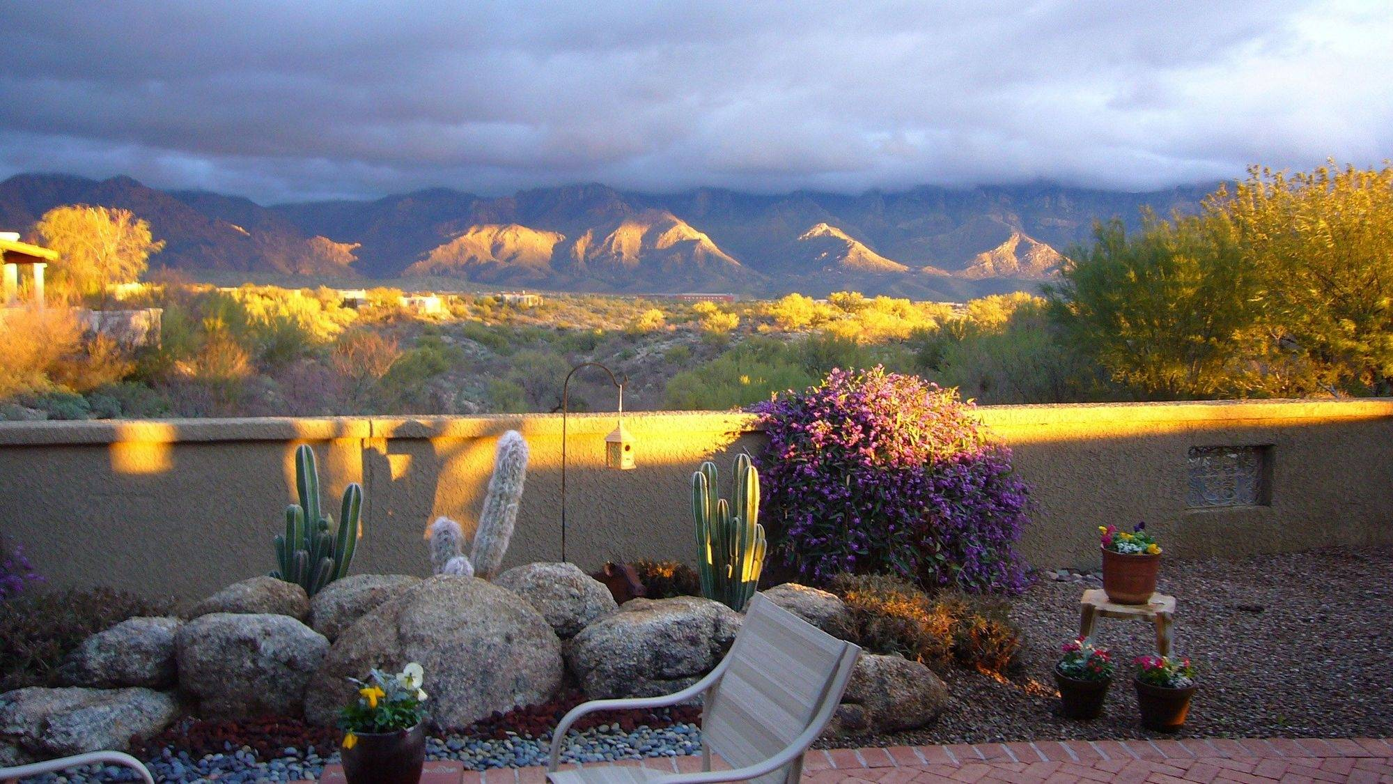 The evening light on a friend's patio and the desert countryside in Tucson Arizona.