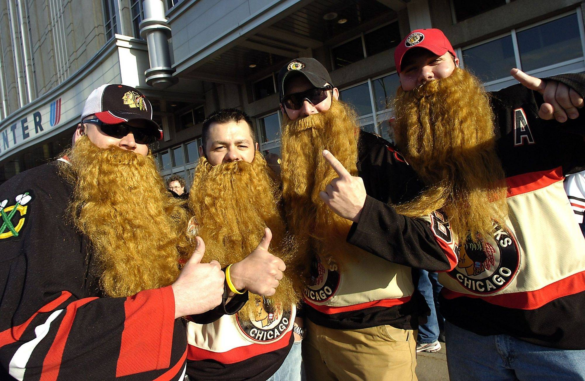 Showing off their beards and their support for Blackhawks player Patrick Kane, who at his young age likely can't grown a beard, are Jeff Minchuk, Scott Shaginaw, Tim Thomas and Dan Matusik all of Indiana.