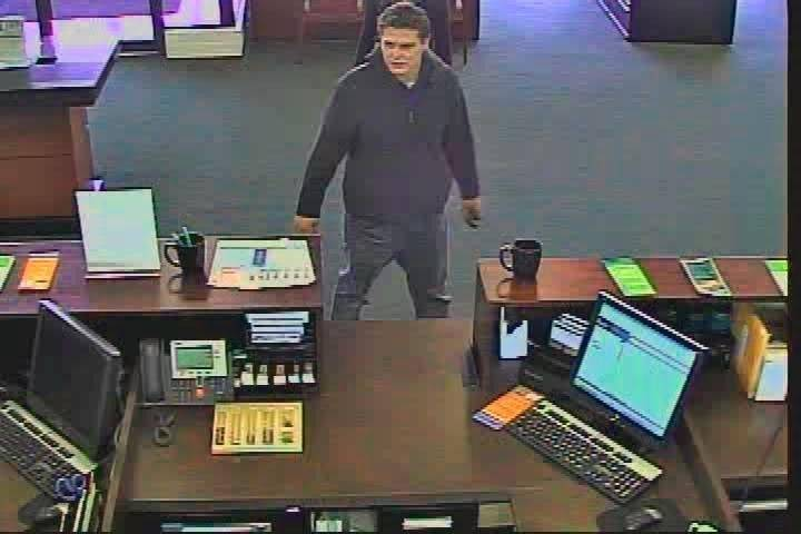 Bank camera footage of the robber, now believed to be James Fedij, at Village Bank & Trust in Arlington Heights.