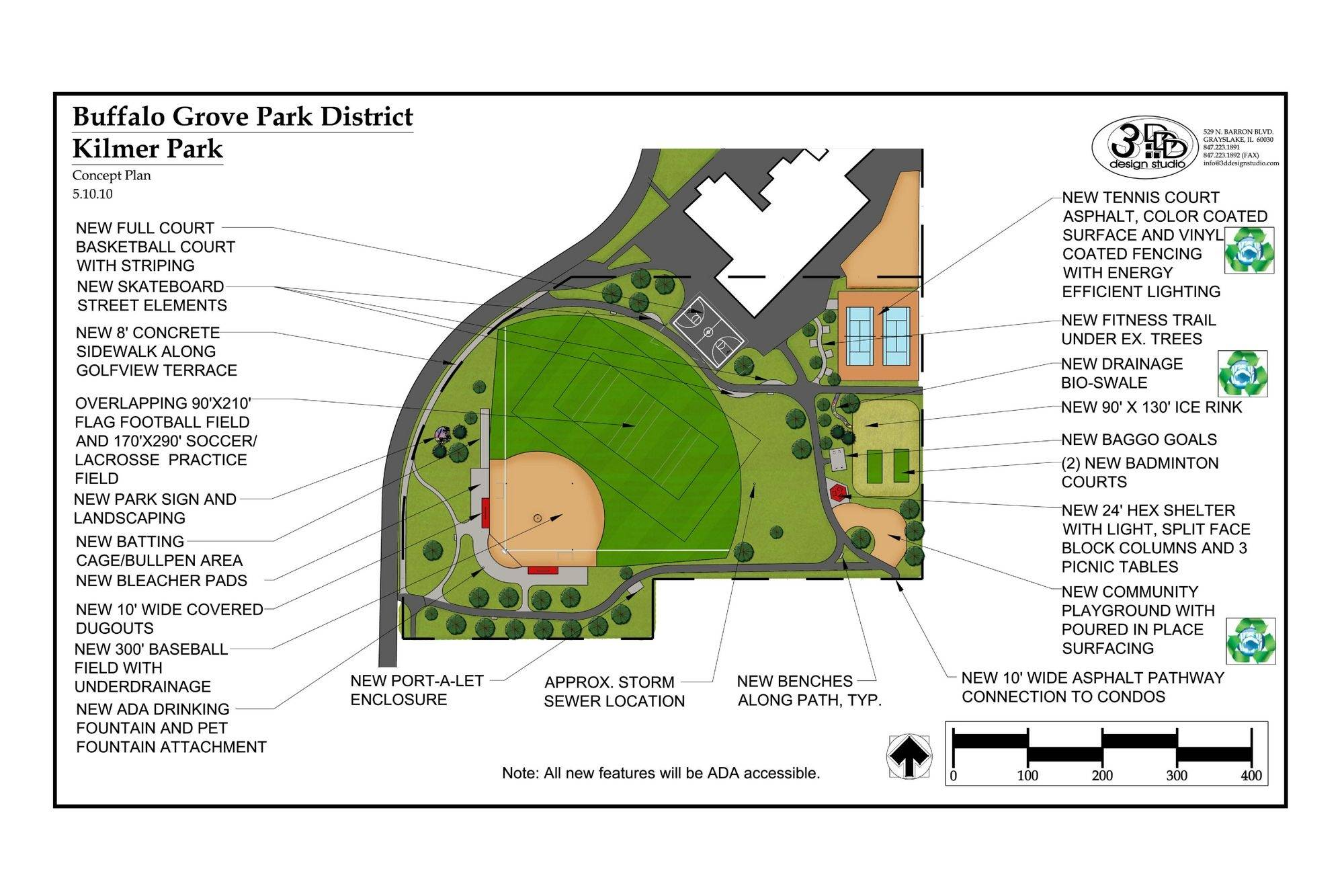 This is a sketch of some of the proposed improvements at Kilmer Park in Buffalo Grove.