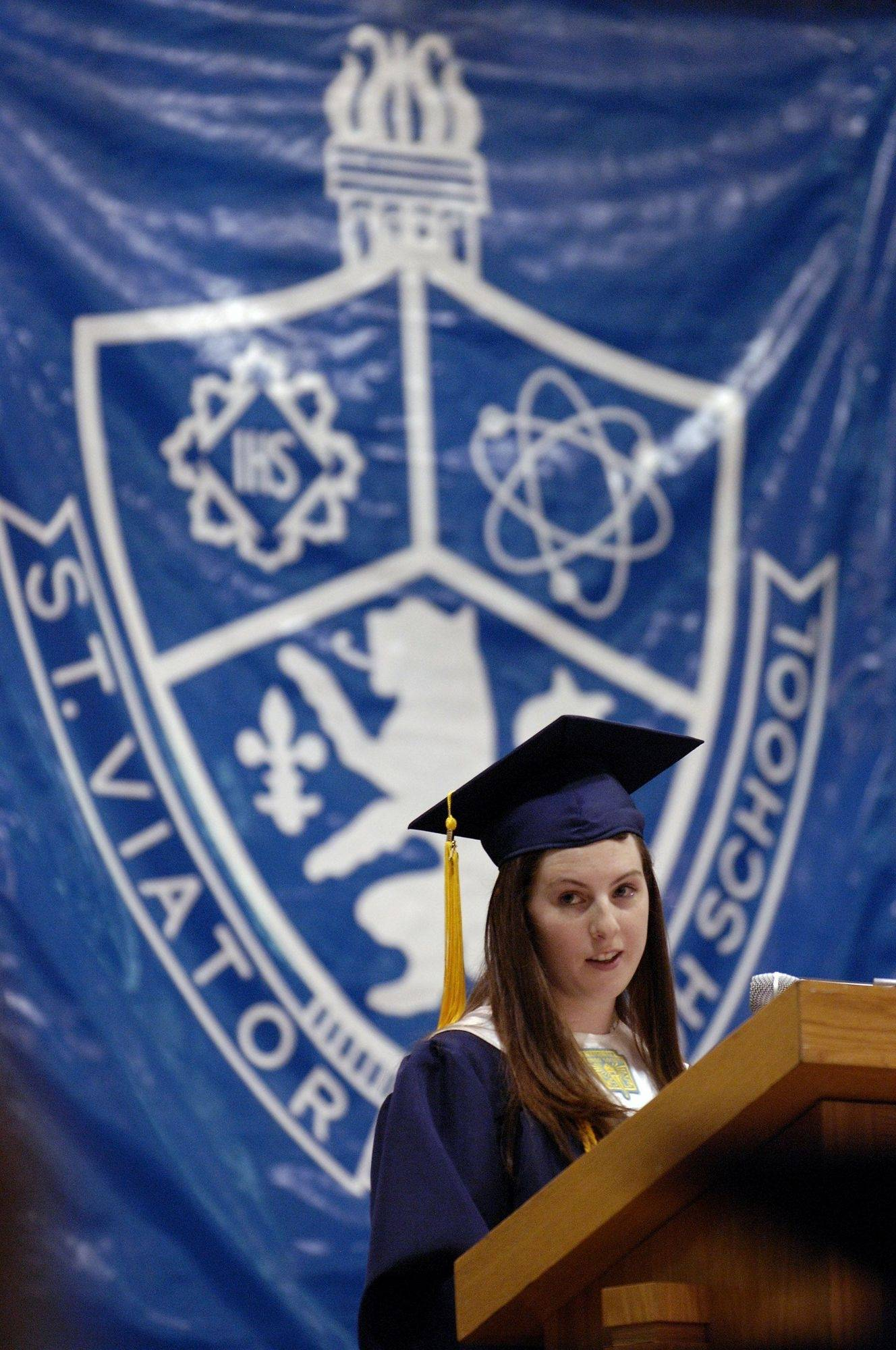 Clare O. Burke gives her Valedictorian speech during the St. Viator High School graduation ceremony on Sunday, May 16th.