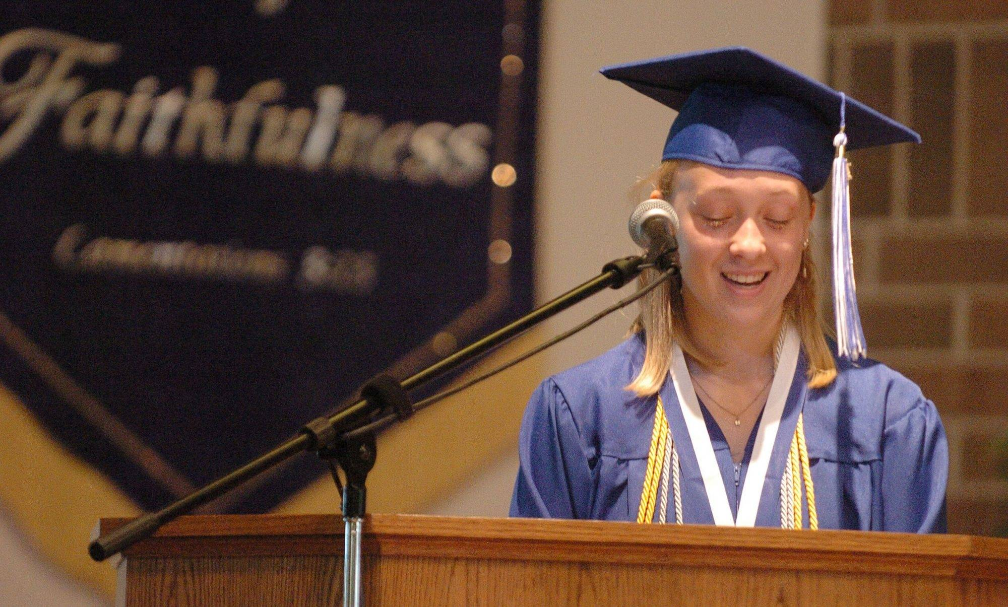 Salutatorian Elise Payne speaks at the Westminster Christian High School graduation on Saturday.