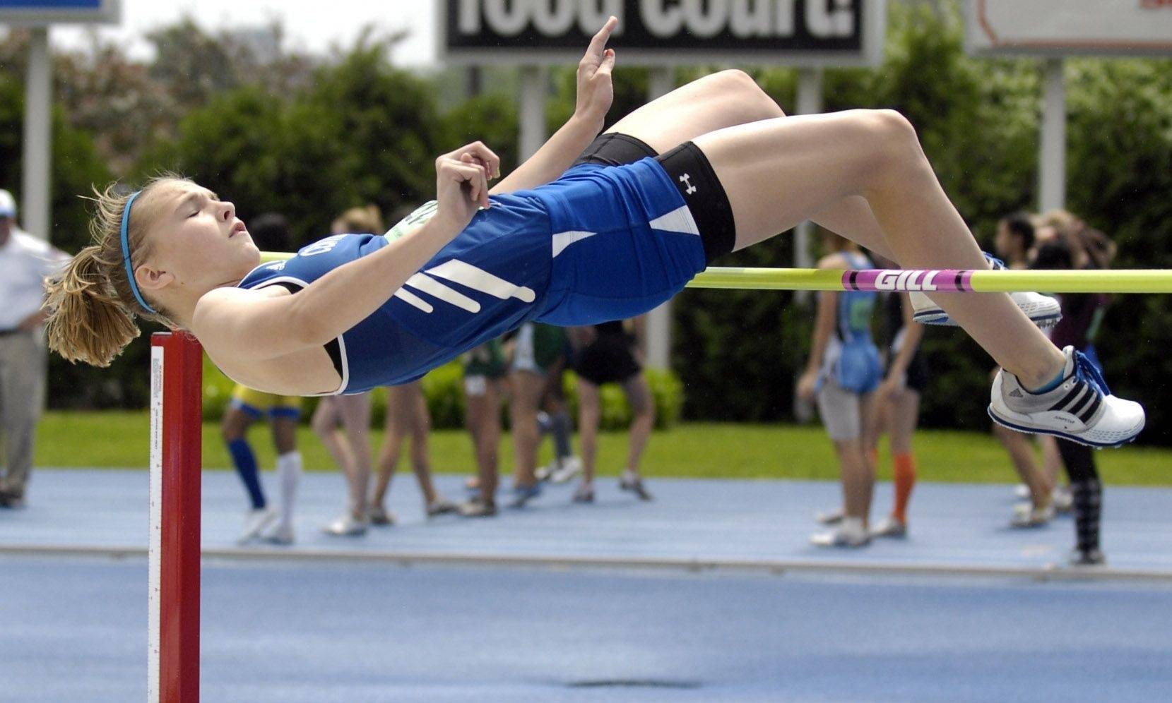 Burlington Central's Katie Trupp (Fr.) competes in the high jump during Friday's semifinal action at the girl's state track meet at Eastern Illinois University in Charleston.