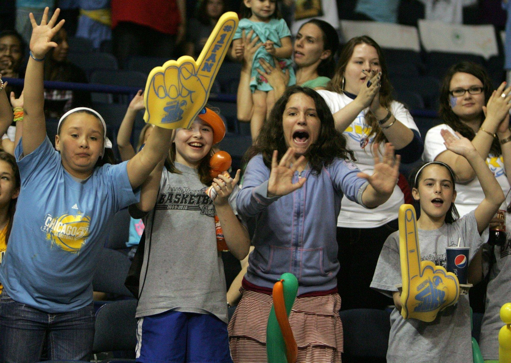Chicago Sky fans cheer during the home opener against the Indiana Fever at the Allstate Arena in Rosemont on Saturday May 22.