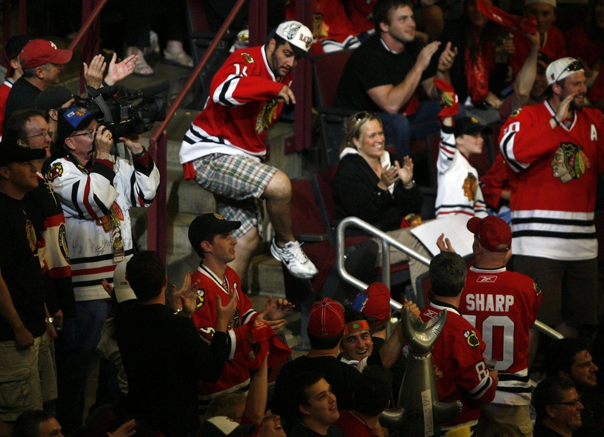 The Chicago Blackhawks win the Western Conference title against the San Jose Sharks at the United Center in Chicago on Sunday.