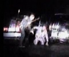 Video frame grabs of Streamwood police officer James Mandarino allegedly beating a motorist.