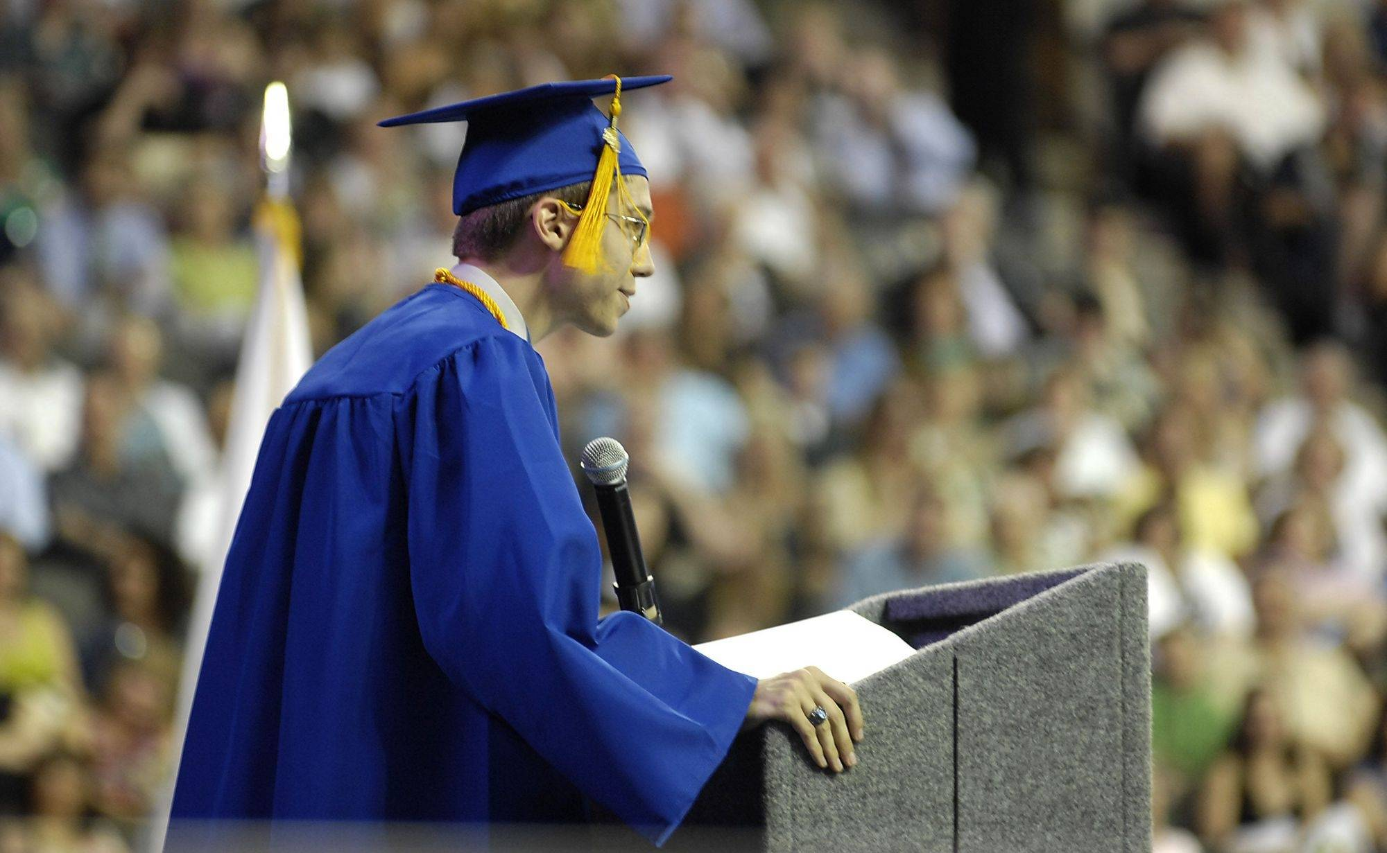St. Charles North High School Salutatorian William Jolly delivers his speech at graduation Sunday.