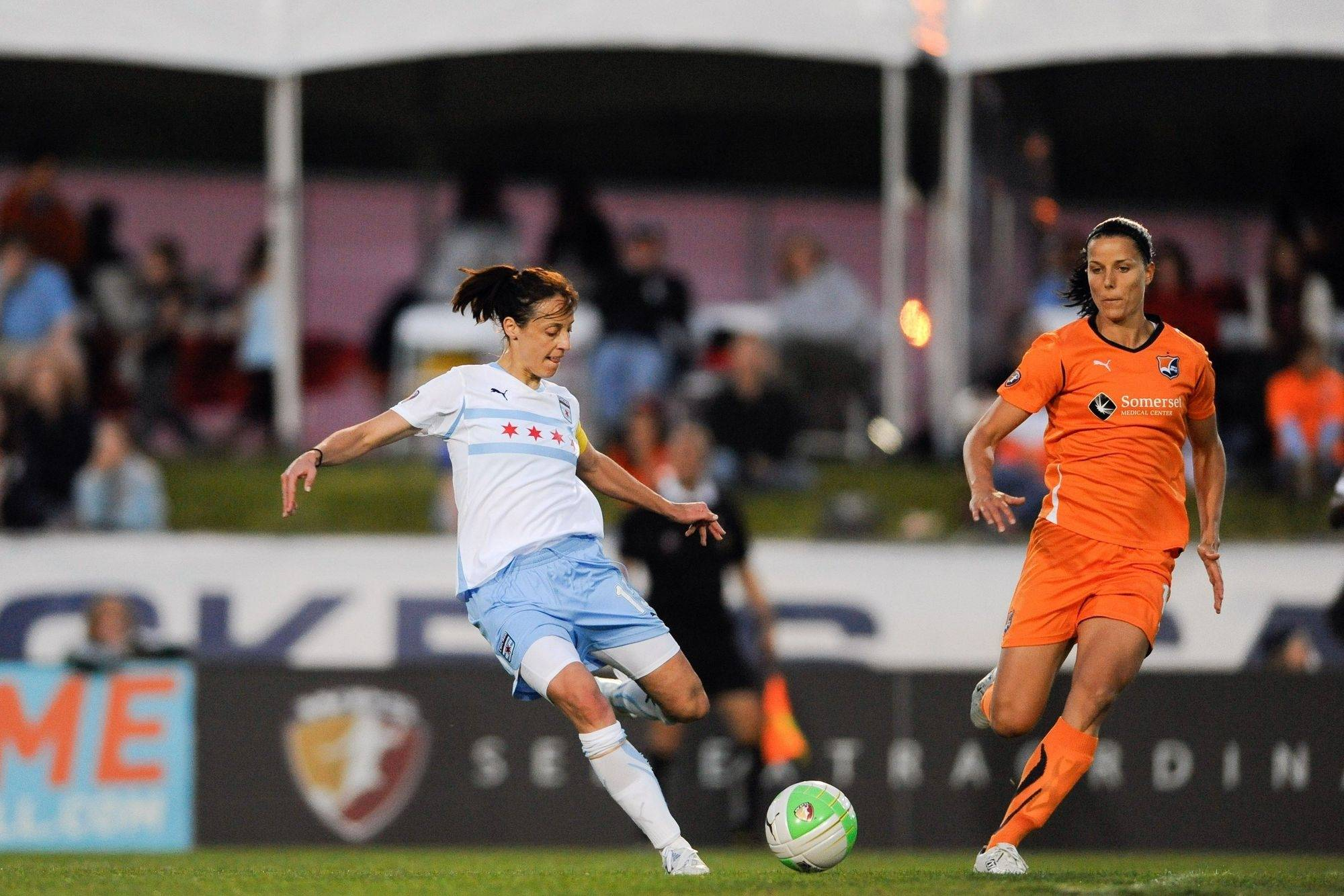 Kate Markgraf (15) of the Chicago Red Stars competes against Sky Blue FC at Yurcak Field in Piscataway, NJ in April.
