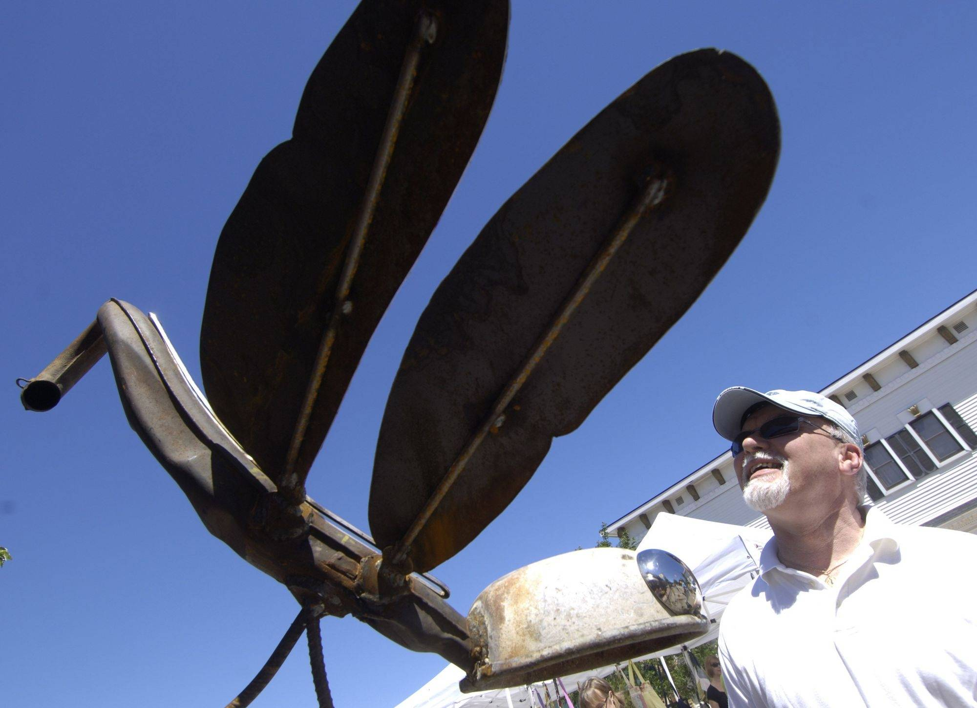 Tom Morris of Grayslake views a dragonfly sculpture made by T-N-A Garden Art during the Grayslake Arts Festival Saturday.