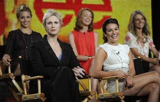"""Glee"" cast members from left, Diana Agron, Jane Lynch, Jayma Mays, Lea Michele and Jessalyn Gilsig. The show received 19 Emmy nominations."