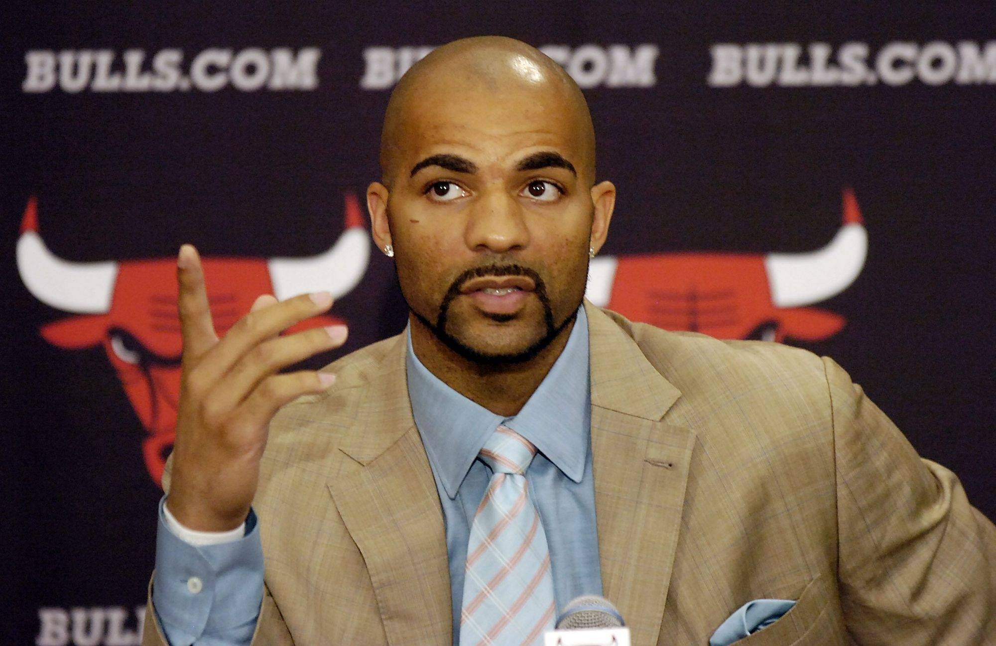 Mark Welsh/mwelsh@dailyherald.com Carlos Boozer speaks about becoming a Chicago Bull at the Berto Center in Deerfield on Friday.