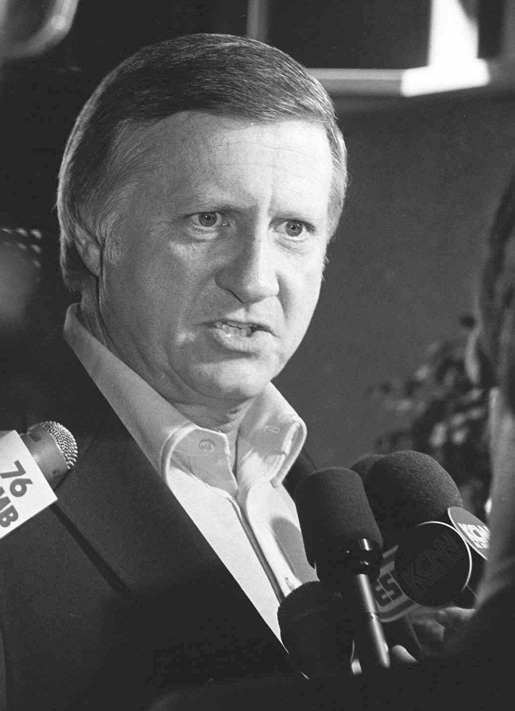 In an April 25, 1974 photo, George Steinbrenner talks with members of the press at Yankee Stadium in New York. George Steinbrenner died Tuesday morning.