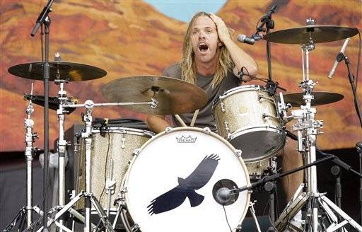 Musician Taylor Hawkins performs with his band The Coattail Riders July 2 at the Wireless Festival in Hyde Park, London.
