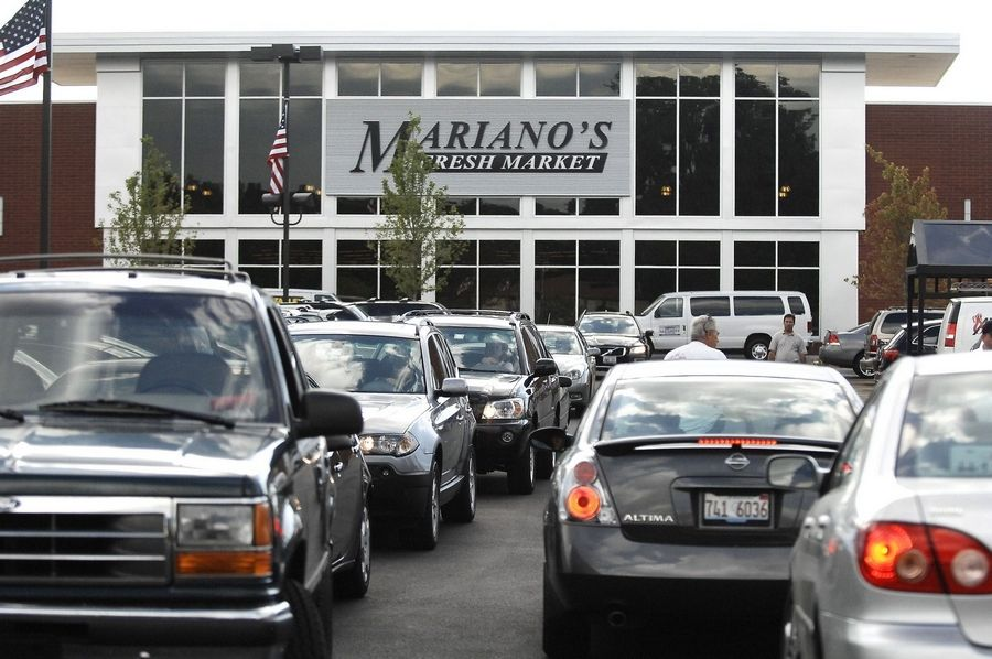 The parking lot overflowed all day for the grand opening of Mariano's Fresh Market in Arlington Heights.