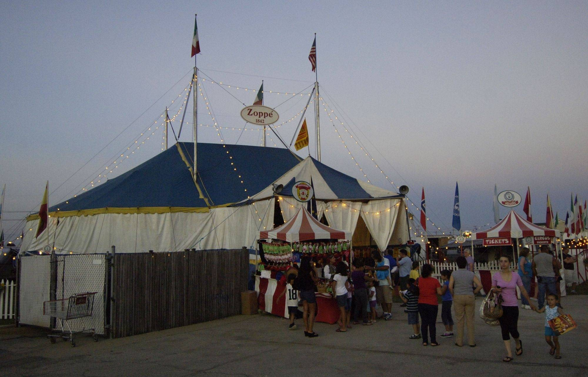 The tent for the Zoppe Family Circus was set up adjacent to Caputo's Fresh Markets in Hanover Park Wednesday.