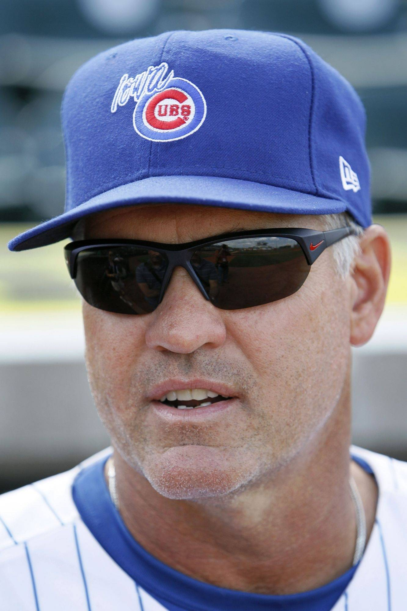 Iowa Cubs manager Ryne Sandberg looks on before his team's baseball game against the Oklahoma City Redhawks Tuesday.