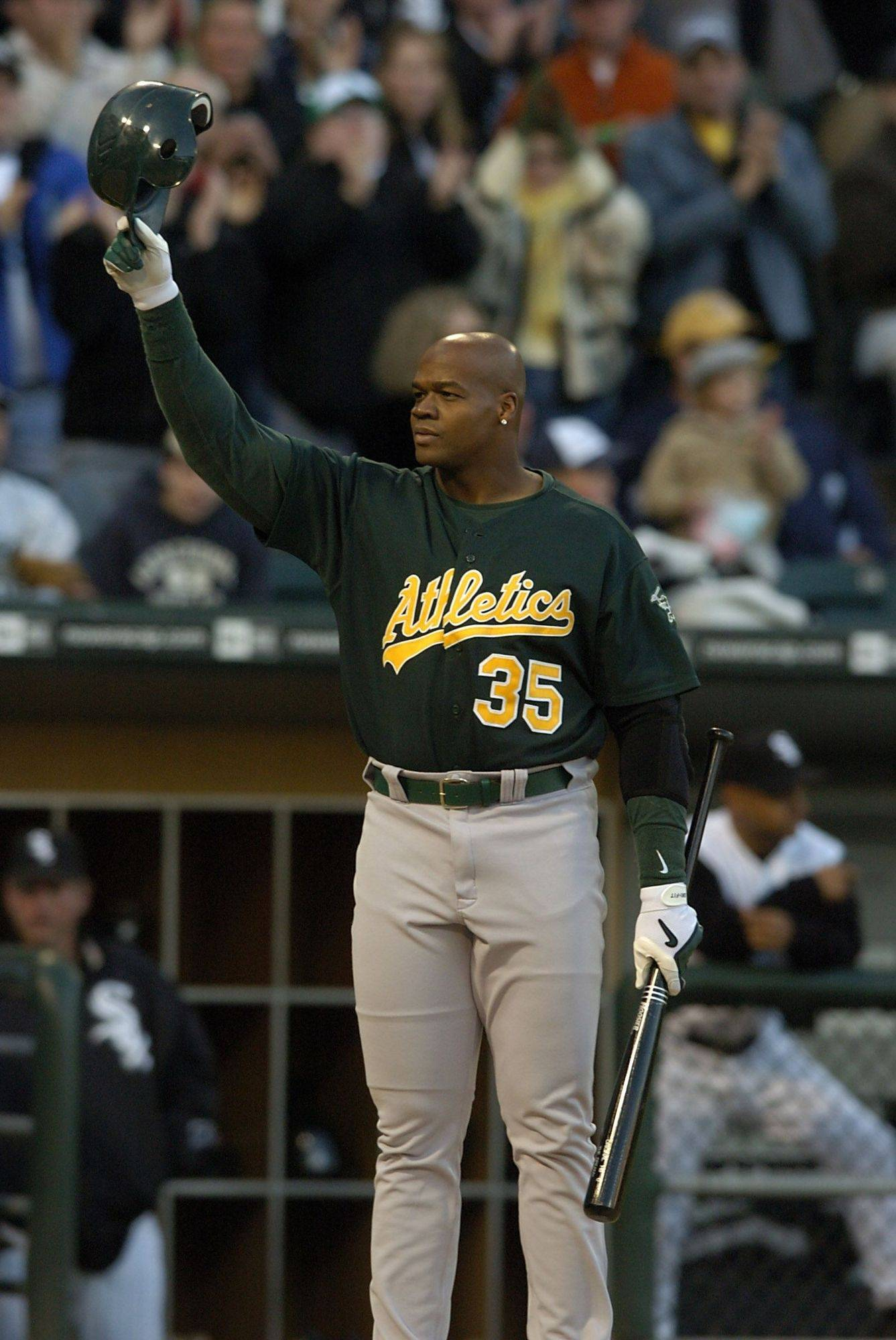 "White Sox play the Oakland A's with the retun of the ""Big Hurt"" Frank Thomas. Frank Thomas comes to bat and is given a standing ovation."